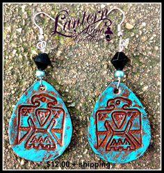 Thunderbird earrings in turquoise/copper