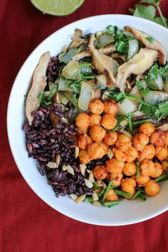 Harissa Chickpeas, Black Japonica Rice & Mushrooms // apolloandluna.com