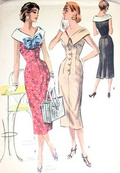 Vintage 50s McCalls Sewing Pattern 3646 STUNNING Large Collar Flirty Back Flared Wiggle Dress