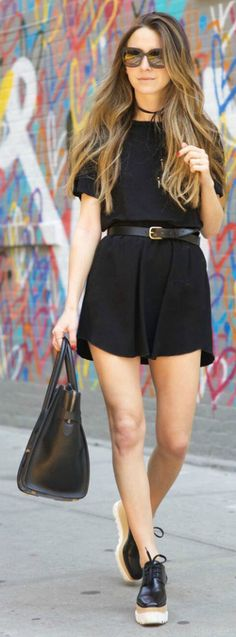 black playsuit + cute and understated style + Arielle Nachami + belt + chunky leather shoes + edgy vibe! Skirt: Isabel Marant, Tee: LNA, Belt: H&M, Bag: Celine.