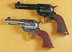 Cimarron's .45 Colt Sixguns | By John Taffin | Those of us who have a little, or a lot, of gray in our beards well remember the poor quality of Italian replica sixguns of 50 years ago. Replica firearms began taking a giant leap forward in both quality and authenticity with much of the credit going to Mike Harvey of Cimarron Firearms. | CFA Eliminator and stainless steel Thunderstorm. | © American Handgunner 2016