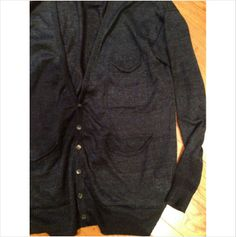 Ma. ry. ya darkest blue 3 deep pocket linen cardigan XS unisex