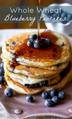 Whole Wheat Blueberry Pancakes on sallysbakingaddiction.com Fluffy, bursting with blueberries, healthy, and so good!