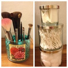 Bathroom storage and organization with bath and body works candle jars.