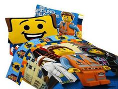 """Black Friday 2014 LEGO Movie FULL """"bed in a bag"""" full size sheets with full/twin comforter from LEGO Cyber Monday. Black Friday specials on the season most-wanted Christmas gifts. Full Size Sheets, Twin Sheets, Twin Sheet Sets, Lego Bedroom, Kids Bedroom, Bedroom Ideas, Minecraft Bedroom, Kids Rooms, Bedroom Furniture"""