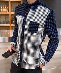 One Pocket Plaid Spliced Hit Color Slim Fit Turn-down Collar Long Sleeves Men's Polka Dot Shirt Mens Casual Suits, Casual Wear For Men, African Clothing For Men, African Men Fashion, Men's Shirts And Tops, Casual Shirts, Casual Clothes, Camisa Tribal, Costume Africain
