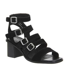 Office Maximum Multi Buckle Block Heels Black Suede - Mid Heels