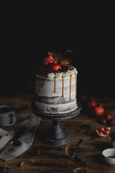 coffee butter cake with vanilla bean swiss buttercream and homemade creamy caramel