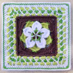 "Starburst Flower Mandala Square Motif By ""e"" Lee - Free Crochet Pattern - (ravelry)"
