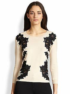 Diane von Furstenberg Doreen Lace-Appliqued Wool Pullover