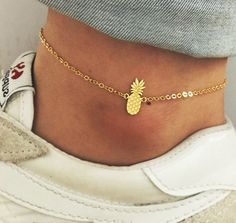 Pineapple Anklets, Fruit Jewelry, Tropical Fruit Anklets, Summer Jewelry, Cute Anklets Its very cute and delicate. Gold or Silver Plating over. I'd want this as a bracelet or an anklet. Cute Jewelry, Body Jewelry, Jewelry Accessories, Fashion Accessories, Fashion Jewelry, Jewlery, Stylish Jewelry, Jewelry Box, Silver Jewellery