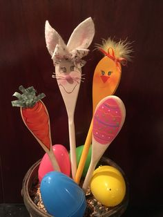 Wooden Easter Kitchen Spoons,Bunny,Carrot,Egg,Chick,Hand painted decorations,Hostess gift, Easter Decor,Spring kitchen decor, kitchen decor by BearySpecialDesigns on Etsy