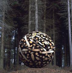 Sculptural Wooden Sphere by Lee Jae Hyo