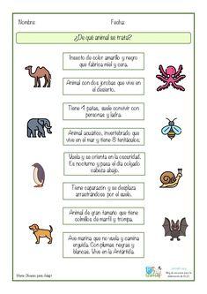 Los ejercicios en los que trabajamos la asociación imagen – texto pueden ser un buen recurso para ejercitar la comprensión lectora, además lo podemos convertir Comics, Animal, Blog, Texts, Teaching Supplies, Alphabet, Reading Comprehension Activities, Montessori Activities, Reading Comprehension