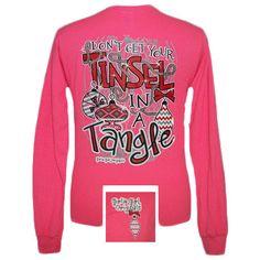 Girlie Girl Originals Tinsel in a Tangle Christmas XMAS Long Sleeve Bright T Shirt