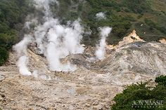Steam coming up from the sulfur springs at the volcano in Soufriere, St. Lucia.