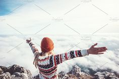 Happy woman #traveler over clouds by e v e r s t on @creativemarket