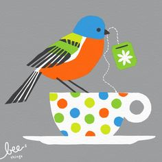 painted bunting limited edition print  grey by beethings on Etsy, $25.00, must have someday! But I love all their stuff :)