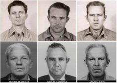 While many tried, only three Alcatraz prisoners escaped and were never caught, fueling speculation that they successfully made it off the Rock. The men involved in the June 1962 escape are, from left, in their younger and older years, Frank Lee Morris (1926-1962), Clarence Anglin (1931-1962) John Anglin (1930-1962). They dug through cell walls, climbed a ventilation shaft and set sail on San Francisco Bay in a homemade raft. They were never seen again.