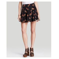 """Free People Dark Brown Floral Corduroy Skirt This skirt has a really cool retro feel. It's dark brown with an orange red & lighter tan floral print. The corduroy is stretchy.{actual color of item may vary slightly from photos}  •waist:14.5"""" •hips:19"""" •length:16.5""""  Material:99%cotton 2%spandex ️machine wash  Fit:true/style might work for sml/med Condition:no rips no stains new ❌no holds ❌no trades ♥️️bundles of 3/more items get 20% off Free People Skirts Mini"""