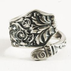 Petite Rococo Sterling Silver Spoon Ring Victorian by Spoonier