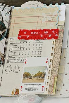Altered book and journal pages. Maps. Patterns. Washi tape. Ribbons. Tags. Cards.