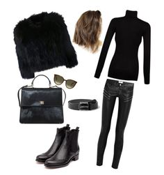 Black and fluffy by kinang on Polyvore featuring polyvore, fashion, style, H Brand, Yves Saint Laurent, HUGO, CÉLINE, Splendid, Rupert Sanderson and MANGO