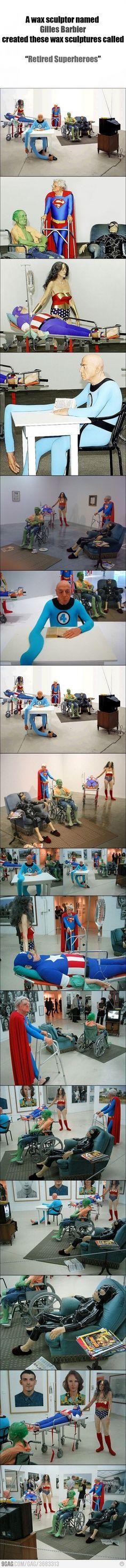 Retired Superheroes!  LOL @ Wonder Womans boobs!  HA HA HA!!!