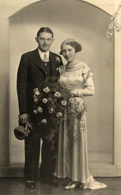 1930's wedding (note the horseshoe on her arm for good luck)