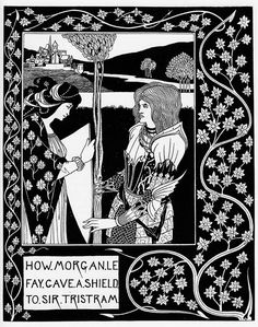 How Morgan Le Fay Gave a Shield to Sir Tristram by Aubrey Beardsley