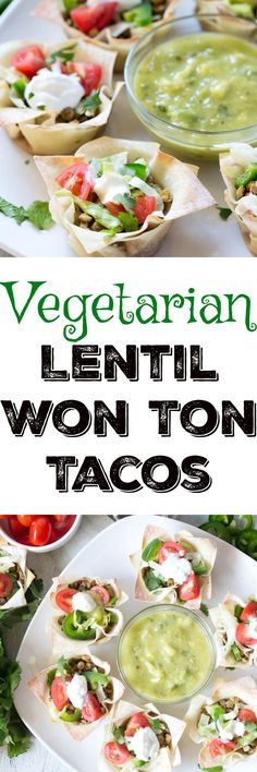 Vegetarian Lentil Won Ton Tacos are a perfect way to include plant based proteins into your diet - these lentil tacos are a perfect party appetizer or turn it into a meal with a side of grilled veggies! | Krollskorner.com