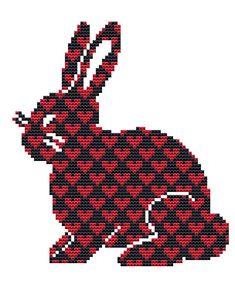 Rabbit Cross Stitch Kit Love heart bunny by FredSpools on Etsy, $17.00