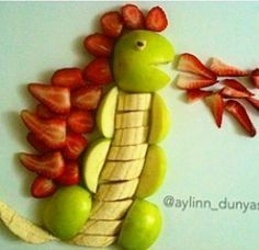 Cool Fruit Monster Dragoon Strawberry Banana Apple Fun food for kids Healthy food Cute Snacks, Cute Food, Good Food, Funny Food, Fun Funny, Funny Ideas, Super Funny, Funny Stuff, Food Art For Kids