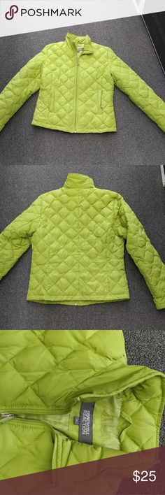 Light Quilted Jacket Kenneth Cole lime green quilted jacket, with light insulation. Hits at hip, zip with stand up collar. Kenneth Cole Reaction Jackets & Coats Puffers