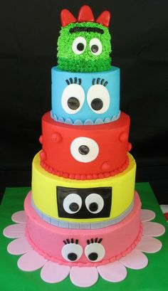 Since the kids love Yo Gabba Gabba so much I am toying with the idea to do a Yo Gabba Gabba theme.  My sister and I fell in love with this cake (well, the entire theme in general) and is in the running to be for the kids second birthday. media-cache4.pint... punkdafiedstar birthday ideas