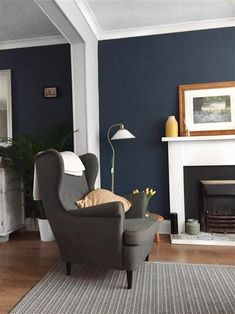 My lounge with stiffkey blue and cornforth white. Blue Living Room Decor, Living Room Paint, Living Room Carpet, New Living Room, Living Room Designs, Room Color Schemes, Room Colors, Paint Colours, Cornforth White Living Room