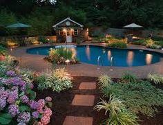 Fabulous backyard - With pool, great lighting, wonderfully done green a. - Fabulous backyard – With pool, great lighting, wonderfully done green and floral landsca - Backyard Pool Landscaping, Garden Pool, Landscaping Ideas, Backyard Ideas, Landscaping Software, Patio Ideas, Backyard Waterfalls, Natural Landscaping, Backyard Plants