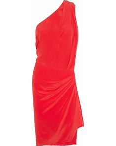 Acne | Red Elaine Asymmetric Silk Dress | Lyst