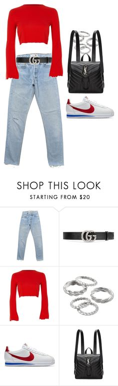 """""""Untitled #2612"""" by mariie0h ❤ liked on Polyvore featuring Gucci, River Island, Apt. 9, NIKE and Yves Saint Laurent"""