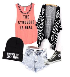 """Untitled #29"" by megsgalley on Polyvore featuring Victoria's Secret PINK, NLY Accessories, Converse, women's clothing, women's fashion, women, female, woman, misses and juniors"