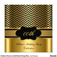 Golden Chevron Gold Black Stripe Birthday Party Invitation
