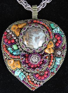 """""""My Pretty Pendant"""" necklace by Cindy Caraway - jewelry, bead embroidery, handcrafted clay cabochon"""