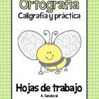 Spelling Work Penmanship Practice in Spanish
