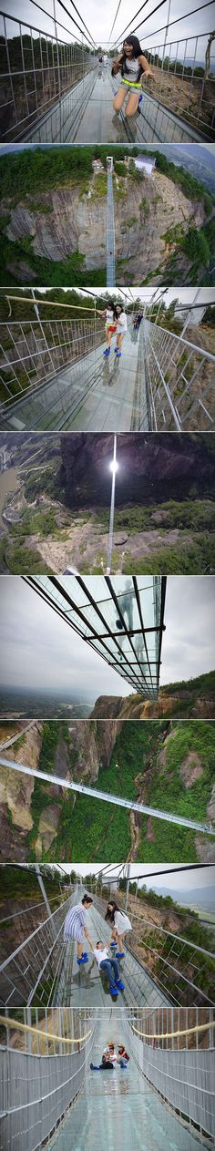 A terrifying wooden bridge in China has just been replaced by a glass one. This, the world's longest glass-bottomed walkway, is located in Shiniuzhai Geopark in Hunan, and spans 300m (984f) and is 180m (590f) above ground. The floor is made of double-layered glass that is 24mm (0.94in), and is reportedly 25 times stronger than regular window glass.
