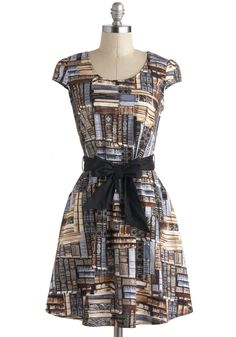 A Plot to Love Dress - Cotton, Mid-length, Brown, Grey, Pockets, Belted, Casual, A-line, Cap Sleeves, Novelty Print, Quirky, Scholastic/Collegiate