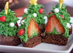 I love these tree brownies with the strawberry.