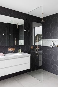 10 Bathrooms with Incredible Tile — Cobalt + Gold
