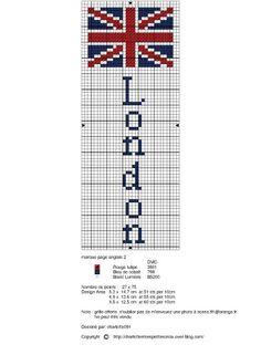Free London Union Jack bookmark cross stitch chart #stitching
