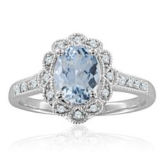 Would be an awesome birthday present!:  Diamond and Oval Aquamarine Ring in Milgrain 14k White Gold Band (H, SI2, 1.15 cttw)
