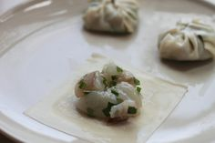 Shrimp and Chive Dumplings (韭菜虾饺) | Easy Asian Recipes at RasaMalaysia.com-shrimp, chives, egg white, tapioca starch, chicken bouillon powder, fish sauce, sesame oil, white pepper powder, sugar, oil, wonton  skin